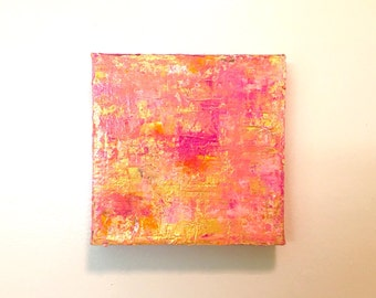 "Pink and Gold Abstract Art, Acrylic Painting on Square Canvas - Modern Art - Contemporary Art for Desk - Expressionism - 6"" x 6"" Square Art"