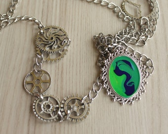 steampunk hand-painted pendant and chain necklace