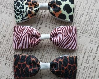 Animal Print Hair Bows, girls hair bow, party favors, leopard print, giraffe, tiger print
