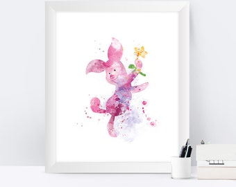 Winnie the Pooh Piglet Watercolor Art Print Piglet Poster Disney Art Piglet Wall Art Gift Nursery Home Decor