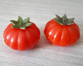 Vintage Tomato Salt and Pepper Shakers Unused