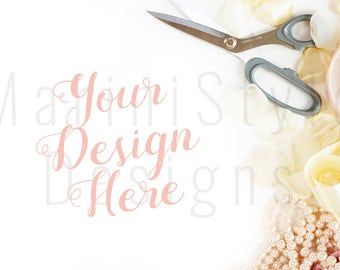 White Desk, Fashion Stock Photo, Pink & Gold Styled Desk, Spread Petals, Styled Stock Photography, Vintage Stock image, Feminine Mockup, 443