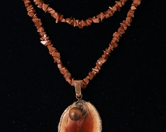 Fossilized Wood with Goldstone and Copper - 34-inches plus the 2-inch wood drop
