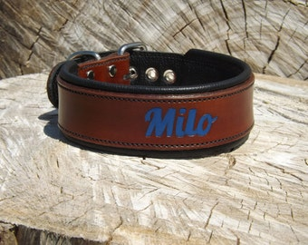 Handcrafted Leather Dog Collar-Personalized with your dogs name -1&1/2 inch wide- 100% Real Leather Quality Dog Collars