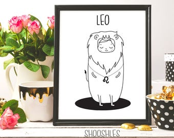 LEO Zodiac Sign, LEO Constellation, Leo illustration, Leo Astrological Print, Leo printable art, Leo print, Zodiac sign, Ink art, 8x10 print