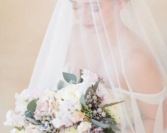 Ara Veil | Constellation Circle Drop Fingertip Veil w/ Couture Beading | English Net Veil with Blusher | Customizable Bridal Accessories