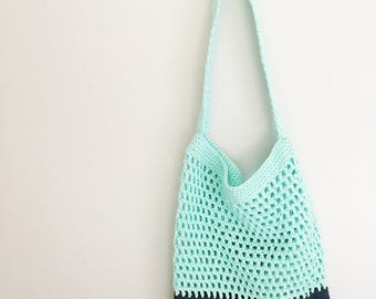 Market / Beach Bag in Mint and Navy