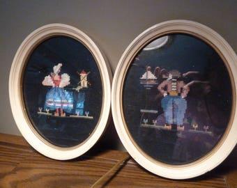 Vintage Wall Art/Shabby Chic cross stitch framed art set/Painted wood frames/Holland Themed framed art/Needlepoint/Sailboat/Windmill