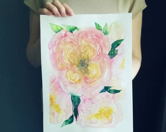 """WATERCOLOR Flowers """"Austin Roses"""" Original Watercolor a floral painting w/ Pink Roses surrounded by Leaves // size: 30x40 cm"""