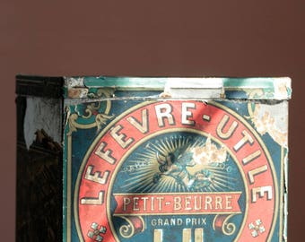Vintage French Lu biscuit tin. Antique advertising. Petit beurre