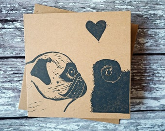 Pug Valentine's Day Wedding Funny Card Hand Printed Lino Print Card Pug Gift Dog Gift Wedding Gift /// Love at First Sniff