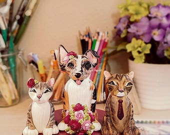 Clay Dog Cake Topper - Australian Shepherd/Jack Russell Cake Topper, Pair of Cats Cake Topper, Cat & Dog Cake Topper, Dog Cake Topper