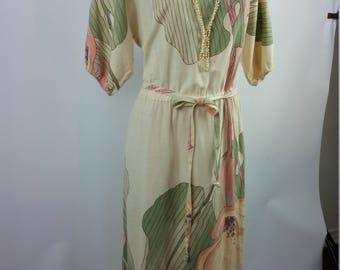 1980's Cotton Maxi Cream Dress. Belted with pink and green floral print. Dolman short sleeves. Size Medium