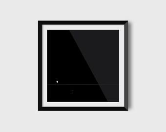 Saturn / Minimalist Print / NASA / Space Art / Astronomy Art / Geometric Print / Moon / Black & White Print / Digital Download / 12 x 12 in