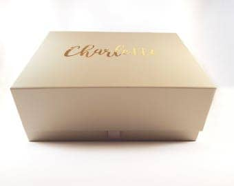 Personalised Olive Ivory Gift Box - Birthday / Wedding / Christmas / Bridesmaid Box