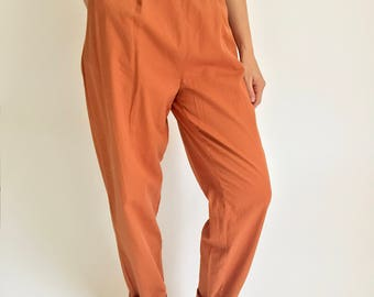 "Orange 30 Waist Rust Cotton High Waist Pleated Pant / 90s Minimal Pant / Pleated Cotton Orange Pant / Pleat Cotton pant (30"" high waist)"