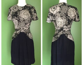 80's Does 40's Rayon Peplum Dress with Cummerbund