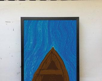 Canoe Art Print • Nature Art, River Art, Boat Art, Water Art, Modern Wall Art, Modern Decor, Nature Print, Digital Art Print, 8x10