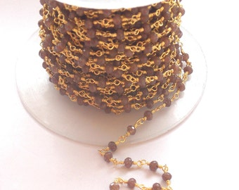 Autumn Sale Natural Golden Rutile 24k Gold Plated Wire Wrapped Chain, 3 -4 mm Beads / Faceted Rosary Chain / Rosary Chain 5 Foot (PJ7100PJ)
