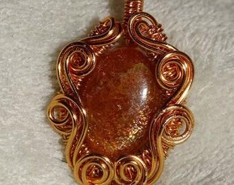 Sunstone copper pendant. Wirewrapped pendant, wire pendant, gemstone pendant