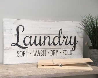 LAUNDRY Sort Wash Dry Fold Sign Wood Pallet Hand Painted Rustic Farmhouse