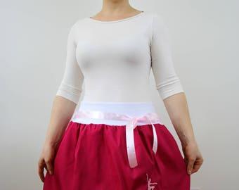 Ballet pink skirt, bubble skirt, balloon skirt, embroidered skirt, aline skirt, women skirt, elastic waist, cotton skirt, XS-XL size