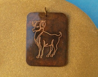 "Copper pendant, zodiac sign Aries, ""Zodiac"""