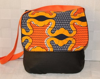 Handmade African Print and Faux Leather Fabric 'Tote' Messenger Bag