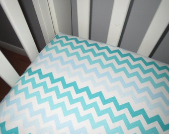 Aqua, Teal, Blue Ombre Chevron Fitted Crib Sheet