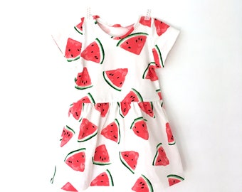 Watermelon dress for baby and girls -  Cute toddler dress - Modern dress 0-7 T