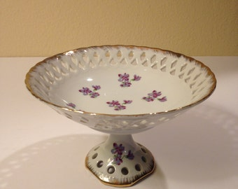 Lefton China Violets Footed Pedestal Compote with Pierced Cutwork and Gold Trim 1950's