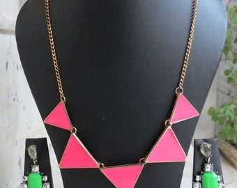 Pink Triangular Indian Necklace with Earings,Bib Statement Necklace,Boho Tribal Necklace,Bridesmaid Necklace,Christmas Gift, Earings