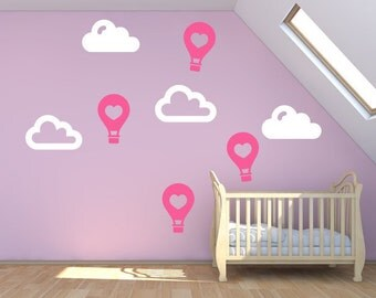 Nursery Wall Stickers - Heart Shape Hot Air Balloon & Clouds Wall Decals