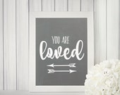 You are loved chalkboard instant download printable art sign | Anniversary gift | Wedding gift | Home decor
