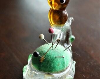 Art Glass Owl Pincushion - Mouth-Blown, Murano Style