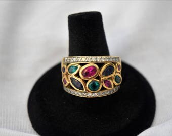 Sterling Silver 925 Ring with Multicolored Stones