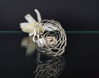 "Silver - gold ring ""ROSE"" for women"