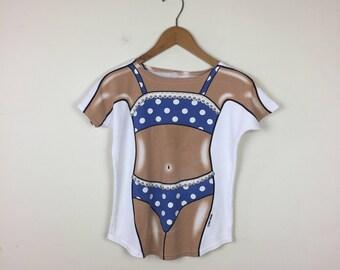 Vintage Bikini T Shirt Size XS, 80s Bikini T Shirt