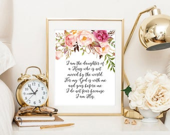 I am the daughter of a king, bible art print, bible quote, christian printable, scripture print, nursery printable art, bible nursery decor