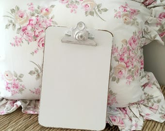 "Shabby Chic Clipboard, Office Supplies, 9""x6"", Off White, Lightly Distressed"