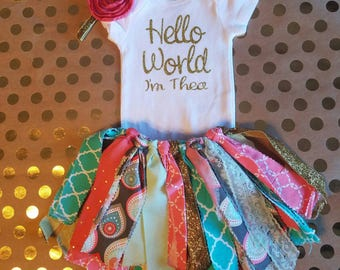Hello WORLD I'm (baby's name)!! Perfect baby shower gift for a new or expectant mother!! Glitter gold!