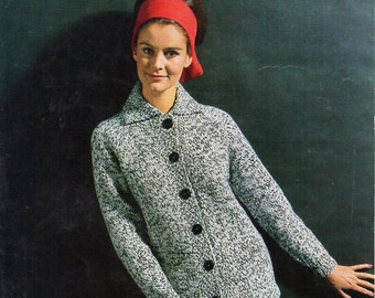 "vintage womens jacket knitting pattern PDF ladies collar cardigan 34-40"" chunky bulky 12ply Instant download"