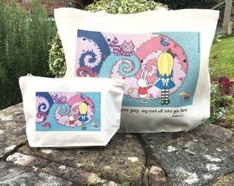 SALE! - Alice in Wonderland Tote Bag + Zip Purse Gift Set