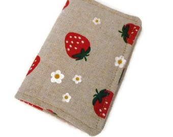 Linen Womans Wallet, Travel Wallet, Minimalist Wallet, Business Card Holder, Credit Card Holder, Card Wallet, Mini Wallet strawberry