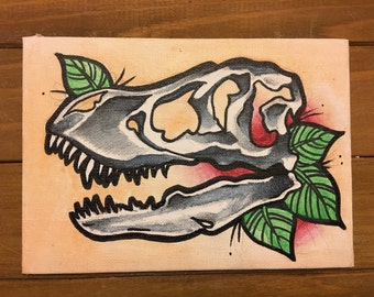 5x7 Canvas Watercolor T-Rex Skull in Traditional Tattoo Style // Unique Wall Art + Gift Idea