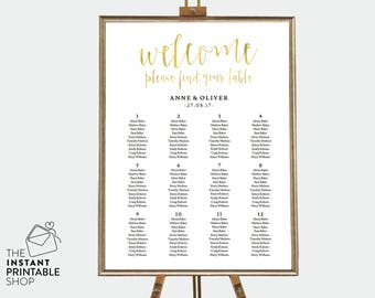 Gold seating chart, Editable pdf, Instant download, Wedding seating chart template, Wedding seating plan template, Gold wedding decor