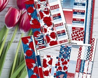 SALE// MONTHLY// 4th of July Monthly Kit! // 5 Pages // Matte or Glossy//Erin Condren Vertical//Classic Happy Planner | PlannerProblem