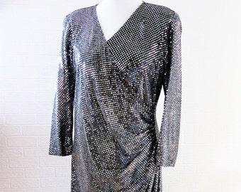 Ma-Sai Silver Maxi Dress/ Shiny Silver Disc Dress/ Silver Evening Dress/ 1980s Dress/ Retro Dress/ Vintage Dress/ Size 16 Dress