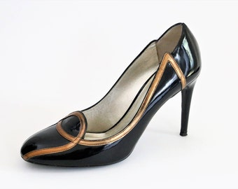 GIVe Italian Black Patent Leather Stiletto Shoes/ Pumps/Court Shoes/Almond Toe Shoes/Euro Size 39 Shoes/ UK Size 6 Shoes/Retro Style Shoes
