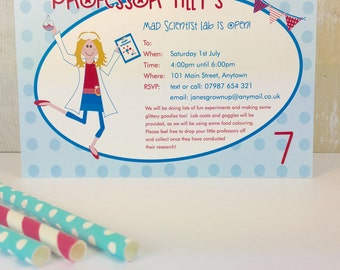 Pack of 16 Mad Science Party Personalised Invites or Thank You Cards